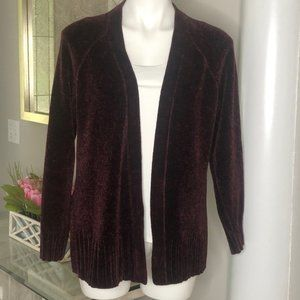Loft Outlet Burgundy Chenille Cardigan, Size MP